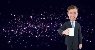 Image composée de Digital de ballot tenant la tasse de café Images libres de droits
