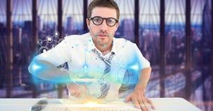 Image composée de Digital de bureau futuriste émouvant d'homme d'affaires avec des icônes sur l'écran Photo stock