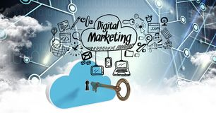 Image composée de Digital de clé et de nuage avec des options numériques de vente Images libres de droits
