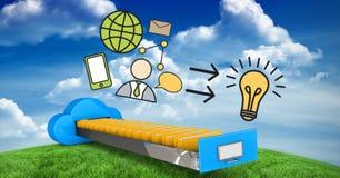 Image composée de Digital de diverses icônes au-dessus de tiroir de calcul de nuage Photographie stock libre de droits