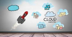 Image composée de Digital de fusée avec des notes représentant le calcul de nuage Photographie stock libre de droits