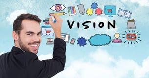 Image composée de Digital de jeunes symboles de dessin d'homme d'affaires avec le texte de vision Photo libre de droits