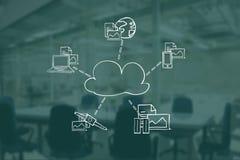 Image composée de Digital de nuage entourée par des technologies et des documents illustration libre de droits