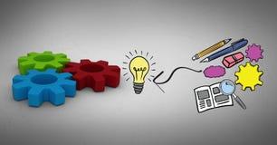 Image composée de Digital de papeterie par l'ampoule et les vitesses Photos libres de droits