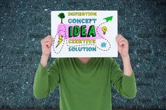 Image composée de Digital de personne tenant le panneau de signe de concept d'affaires Image libre de droits