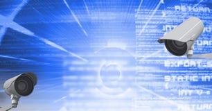 Image composée de Digital des appareils-photo de télévision en circuit fermé contre le texte sur le fond bleu Photo libre de droits