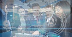 Image composée de Digital des graphiques de technologie avec des gens d'affaires dans le bureau Image libre de droits