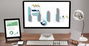 Image composée de Digital des graphiques sur des technologies illustration stock