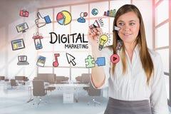 Image composée de Digital des icônes émouvantes de femme d'affaires dans le bureau Image stock