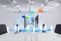 Image composée de Digital des icônes ordinateurs dans le bureau Images stock