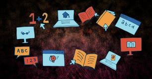 Image composée de Digital des livres et des technologies illustration de vecteur