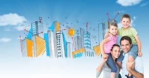 Image composée de Digital des parents portant des enfants sur des épaules avec la ville tirée à l'arrière-plan Images stock