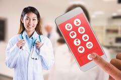 Image composée de docteur asiatique tenant le stéthoscope Photos stock