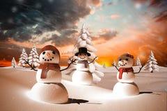 Image composée de famille de neige Images libres de droits