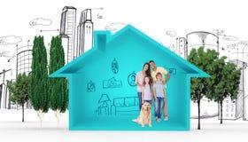 Image composée de famille heureuse se tenant avec le chien image libre de droits