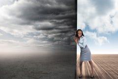 Image composée de femme d'affaires éloignant la scène Photos libres de droits