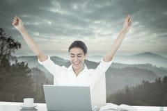 Image composée de femme d'affaires célébrant un grand succès Photo libre de droits