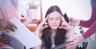 Image composée de femme d'affaires déprimée avec des yeux fermés photographie stock libre de droits
