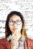 Image composée de femme d'affaires réfléchie avec des lunettes Photographie stock
