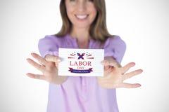Image composée de femme d'affaires de sourire montrant le signe vide Image libre de droits