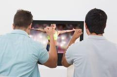 Image composée de femme d'ajustement célébrant la victoire avec des bras étirés Photos libres de droits