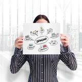Image composée de femme de sourire montrant une carte d'importante affaire devant son visage Image stock