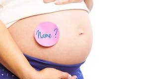 Image composée de femme enceinte avec l'autocollant sur la bosse Images libres de droits