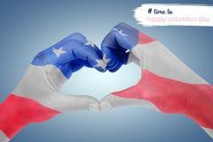 Image composée de femme faisant la forme de coeur avec des mains Photos libres de droits