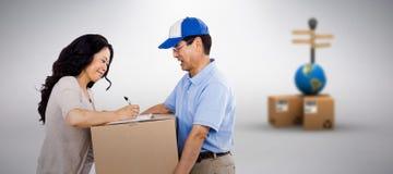 Image composée de femme signant pour un paquet image stock