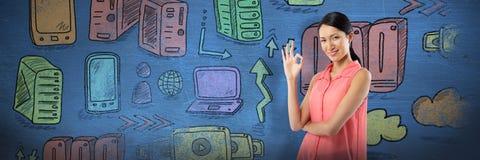 Image composée de femme de sourire faisant des gestes le signe correct de main sur le fond blanc Photos libres de droits