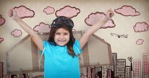 Image composée de fille de sourire feignant pour être pilote Images libres de droits