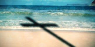 Image composée de fin de la croix 3d en bois Photographie stock libre de droits