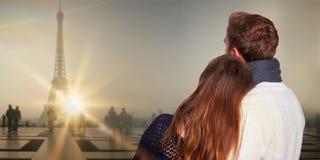 Image composée de fin vers le haut de la vue arrière des couples romantiques photos libres de droits
