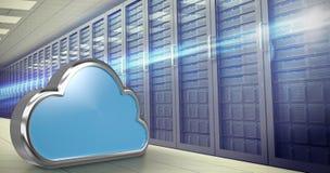 Image composée de forme bleue de nuage au-dessus du fond blanc 3d Image libre de droits