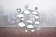 Image composée de griffonnage de calcul de nuage Image stock