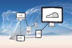 Image composée de griffonnage de calcul de nuage Image libre de droits