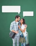 Image composée de jeunes couples attrayants partant en leurs vacances Photographie stock libre de droits