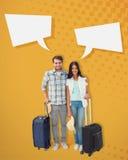 Image composée de jeunes couples attrayants partant en leurs vacances Images libres de droits