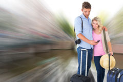 Image composée de jeunes couples attrayants prêts à partir en vacances Images stock