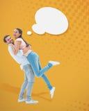 Image composée de jeunes couples attrayants s'étreignant Photos libres de droits