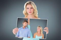 Image composée de jeunes couples faisant les visages idiots Images stock