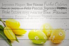 Image composée de Joyeuses Pâques dans différentes langues Photo libre de droits