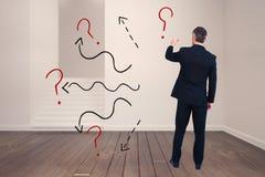 Image composée de l'écriture d'homme d'affaires avec la craie sur le fond blanc Photo libre de droits