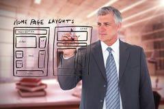 Image composée de l'écriture d'homme d'affaires avec le marqueur noir Photo libre de droits
