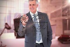 Image composée de l'écriture d'homme d'affaires avec le marqueur noir Images stock