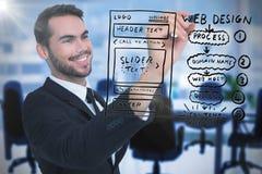 Image composée de l'écriture de sourire d'homme d'affaires avec le marqueur noir photo libre de droits