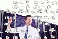 Image composée de l'écriture de sourire d'homme d'affaires quelque chose avec la craie blanche Image stock