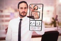 Image composée de l'écriture focalisée d'homme d'affaires avec le marqueur Images libres de droits