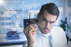 Image composée de l'écriture focalisée d'homme d'affaires avec le marqueur Photo libre de droits