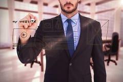 Image composée de l'écriture focalisée d'homme d'affaires avec le marqueur Photographie stock